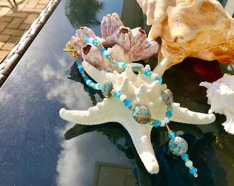 Aqua Swarovski Crystal and Sea Sediment Jasper Necklace