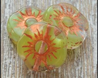 Czech Flower Beads, Czech Glass Beads, Green Beads, Glass Flower Beads, Jewellery Supplies, Beads ,Picasso Beads, Czech Beads, Pack of 10
