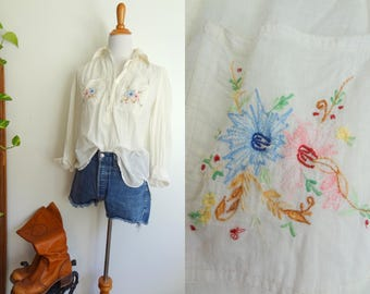 Vintage Ethereal Indian Cotton 70s Hippie White Blouse Small