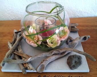 Glass candle, pink fabric and Driftwood