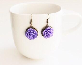 Lilac Purple Rose Earrings