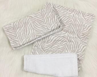 Zebra Burp Rag Cloth - Teether - Wash Cloth - Nursing - Gray Burp Rag - Zebra Burp Cloth - Zebra Burp Rag - Baby Towel - Teething