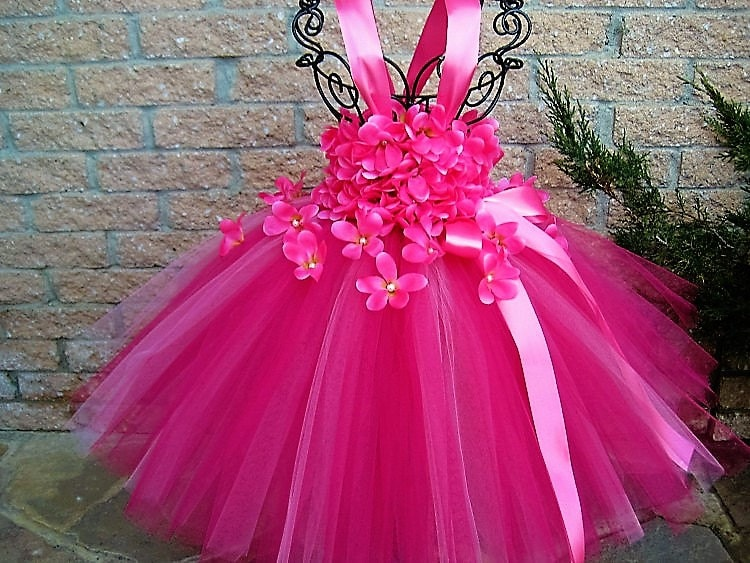 PINK FLOWERS PINK Tutu Dress Flower Girl Gown Pageant
