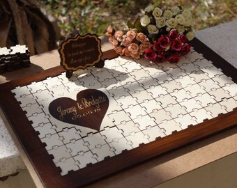 Wedding guest book alternative Wood Puzzle guest book sign, Rustic wedding sign, Wedding Puzzle guestbook, Personalized guest book for wed