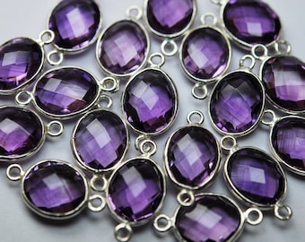 925 Sterling Silver,Natural PINK AMETHYST Faceted Oval Shape Connector,2 Piece of 17- 18mm