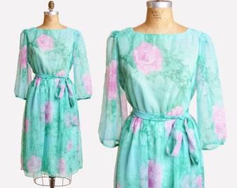 Vintage 70s ROSE PRINT DRESS / 1970s Chiffon Floral Midi Dress, m
