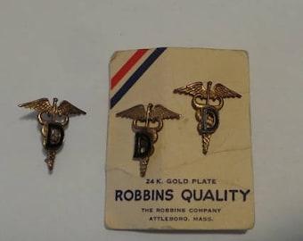 Three WWII Medical DENTIST Insignia US Army