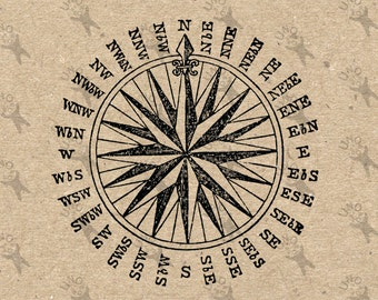 Compass printable image  Instant Download antique picture Vintage clipart digital graphic iron on, burlap, stickers, fabric transfer 300dpi
