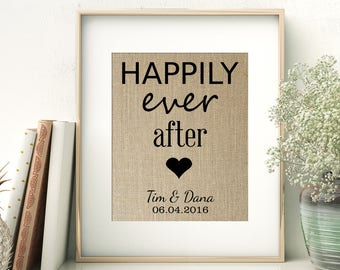 Happily Ever After | Personalized Burlap Print | Fairy Tale Wedding Decor | Disney Wedding | Bridal Shower Wedding Anniversary Gift