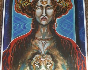 Sekhmet&Lion beeing*30/40cm giclee print on paper