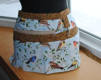 Handmade Vendor Apron Blue Brown Birds Roses Teacher Apron Utility Craft Farmers Market