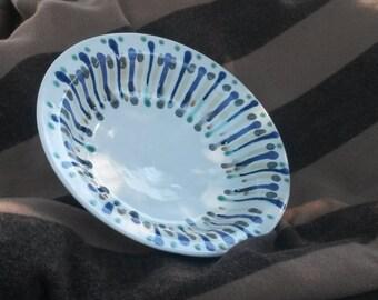 """OOAK Bowl Ceramic 11.5"""" Wide Large Serving Dish Wheel Thrown Fruit Bowl Salad Centerpiece"""