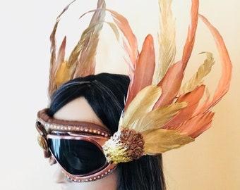 Burning Man Phoenix Valkyrie Goggles | Festival Steampunk Goggles | Feather Phoenix Fire Headdress Headpiece