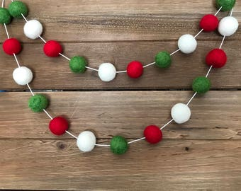 Christmas #1 Felt Ball Garland- Red, Green, White- Party, Holiday, Mantle Decor- Pom Pom