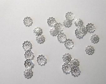 Destash Flower Bead Caps  Silver Tone set of 25