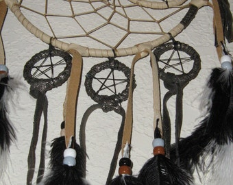 Black Beauty Dreamcatcher is dedicated to the Moon Goddess with Half moon,whole moon,full moons,inspired by Native Americans, native woven