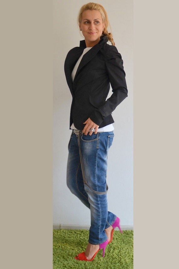 Coat Tailcoat Clothing Trench Trench Size Blazer Black Cotton Womens Jacket Jacket Black Plus Vest AqRTwB