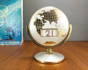 Flip calendar etsy vintage globe perpetual flip calendar retro office supply world map desk calendar gold tone 1960s great condition gumiabroncs Gallery