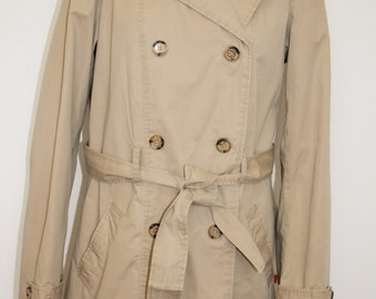 Womens Trench Coat  Beige Double  Breasted Trench Belted Gray Overcoat X Large Size Raincoat