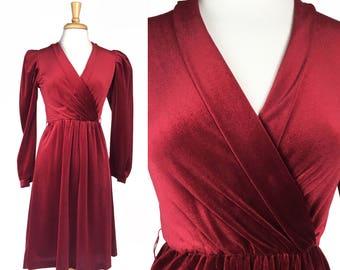 Vintage 80s Valentine's Day Red Burgundy Velour V-Neck Surplice Dress XS Small Medium Long Sleeve Midi
