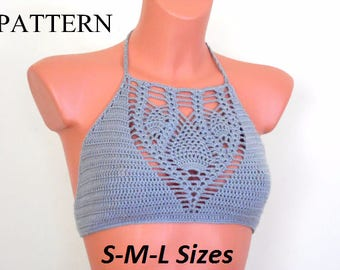 Crochet Halter Top Pattern, Halter Top Pattern, Bikini Top Pattern, Crop Top Pattern, Bustier Pattern