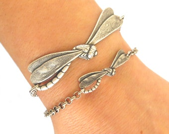 Small Dragonfly Bracelet, Dragonfly Anklet, Sterling Silver Ox or Brass Ox Finish, Smaller of 2 pictured