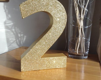 "12"" Gold Glitter Number 2, Large Freestanding Number 2, 2nd Birthday Party Decor, 2nd Birthday Photo Prop"