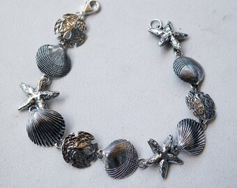 Sterling Silver Ocean Beach Marine Life Bracelet With Seashell Starfish and Sand Dollar