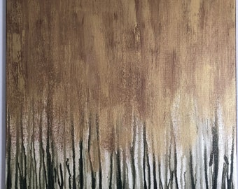 Large Abstract Green Cypress Trees Acrylic Painting on Stretched Canvas