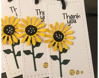 Handmade Thank You Tags Yellow Daisy Sunflower set of 6