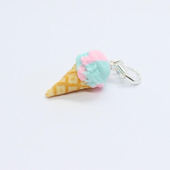 Cotton Candy Ice Cream Cone Charm - Stitch Marker - Progress Keeper - Scissor Fob Charm - Ready to ship