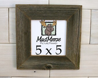 "5x5 BarnWood [Thin x 2""]  Picture Frame .(tags: barn wood frame barnwood frame gray wood frame square frame rustic frame wood picture frame)"