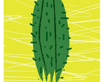cactus print green  by Rachael Partis Design