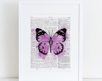 Dictionary page Butterfly, Purple, watercolor, A4, watercolour, butterfly print, print at home, digital download,vintage,dictionary old page
