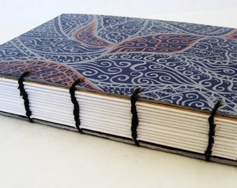 Coptic Bound Journal - Blue, Silver and Bronze