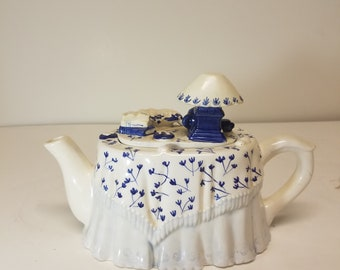 Vintage blue and white teapot