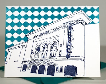 Baltimore Letterpress Card   Hippodrome Theatre   navy & teal single blank card with envelope
