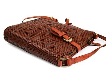 HANDMADE Fully Woven Leather Crossbody bag