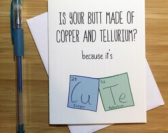 Geeky Love Card, Chemistry humor, Nerd Card, Anniversary Card, Love Greeting Cards, I Love You, Any Occasion, Romantic Card, For Husband