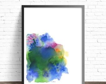 Colorful Minimalist Art Print. Abstract art print . Minimalist watercolor print . Modern abstract art . Abstract watercolor painting