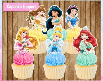Disney Princess Cupcake Toppers, Classic Princess's Cupcake Toppers, Printable Party Favors, PRINTABLE Instant Download