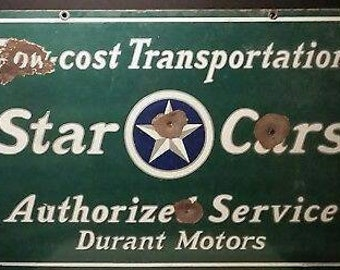 Star Cars Durant Motors double sided porcelain sign 1920's era
