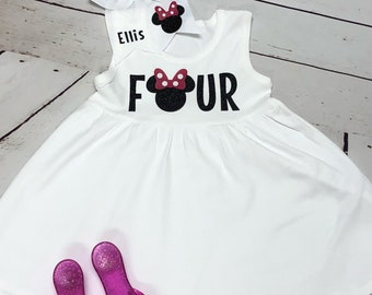 Minnie Mouse birthday outfit, Four birthday outfit, Minnie Mouse Outfit, Minnie Mouse birthday, Minnie Mouse party, Minnie Mouse shirt, girl