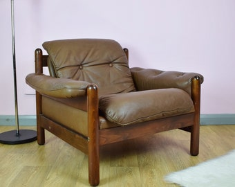 Superbe Mid Century Retro Norwegian Percival Lafer Style Brown Leather Lounge Arm  Chair