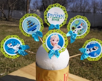 24 Disney frozen fever cake topper/cupcakes handmade cute well done