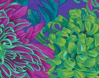 Philip Jacobs Fabric, Japanese Chrysanthemum, PJ41 Green, Free Spirit, 100% Cotton, #KC34+