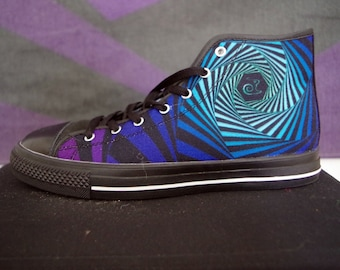 Psytrance/ Rave Festival Psychedelic Hexagon All Star Converse Style Sneaker, Illusion OP art Print & Ain't no snail Logo