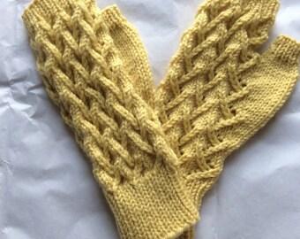 Fingerless Gloves — Tipless Finger Gloves — Knit Fingerless Gloves — Fingerless Mittens — Yellow Fingerless Gloves — Lace Fingerless Gloves