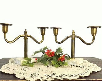 Pr Vintage Brass Candelabras with Marble Bases, Mid Century 2 Arm Candle Holders