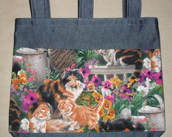 New Handmade Cats and Flowers Walker Tote Bag
